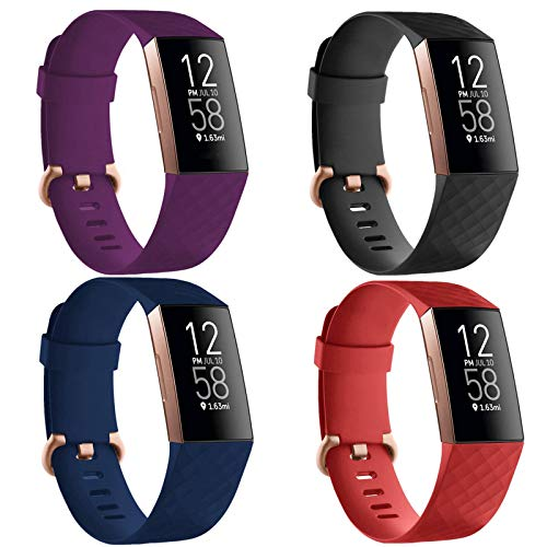 TECKMICO 4 Packs Bands Compatible with Fitbit Charge 4,Replacement Bands with Rose Gold Buckle for Fitbit Charge 4/Fitbit Charge 3/Fitbit Charge 3 SE,Women Men (Black/Navy Blue/Purple/Red, Large)
