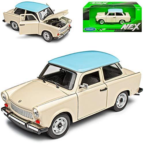 Welly Trabant 601 Limousine Beige mit Blauem Dach 1/24 Modell Auto mit individiuellem Wunschkennzeichen