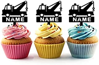 TA0993 Personalized Name Cute Tow Truck Silhouette Party Wedding Birthday Acrylic Cupcake Toppers Decor 10 pcs