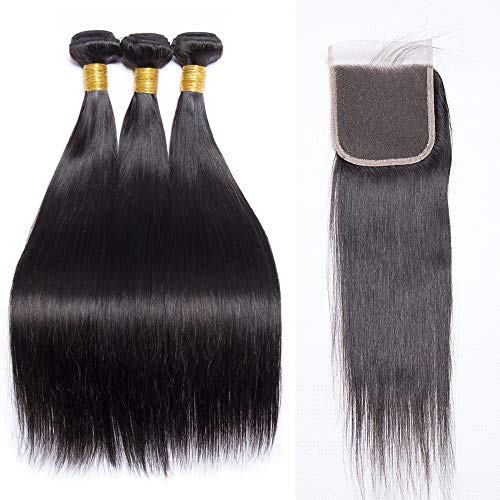 9A Brazilian Virgin Human Hair 3 Bundles Straight Wave Weft 100% Real Human Hair Extensions Natural Color with Free Part Closure(18 20 20 with 16 closure)