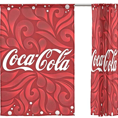 J.COXLOD Sheer Window Curtain Panels Individual Coke Red Floral Print for Kitchen, Bedroom and Living Room, 55x84, 2 Count