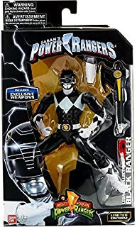 Mighty Morphin Power Rangers Legacy Collection Limited Edition 6.5 Inch Black Ranger with Metallic Finish and Exclusive Weapons