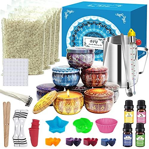 IVSUN Kerzen selber Machen Set DIY Kerzenherstellung Kit für Erwachsene und Kinder Duftkerzen Geschenkset mit Bienenwachs, Dose, Schmelztiegel, Dochte, Farbstoffe, Silikonform