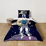 Fansu Juego de Ropa de Cama Niños, Diseño de Planeta Espacial 3D, Funda Nórdica de Microfibra para Cama Individual, Infantil Funda de Edredón y Funda de Almohada (Luna,135x200cm+80x80cm)