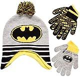 DC Comics Boys Batman Winter Hat 2 Pair Gloves or Mittens Set (Toddler/Little Boys), Size Age 4-7, Batman Grey/Yellow Glove