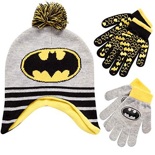 DC Comics Boys Batman Winter Hat and 2 Pack Mittens Set (Age 2-4)