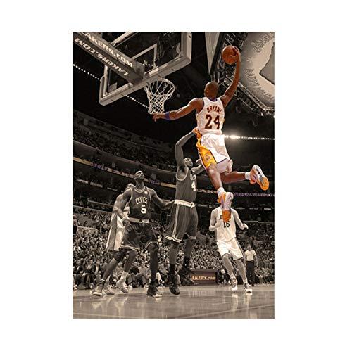 Star del Basket Kobe Bryant Tela Pittura A Olio NBA Star Slam Dunk Poster Immagini per Pareti per Soggiorno Decorazioni per La Casa 50 × 70 Cm Senza Cornice