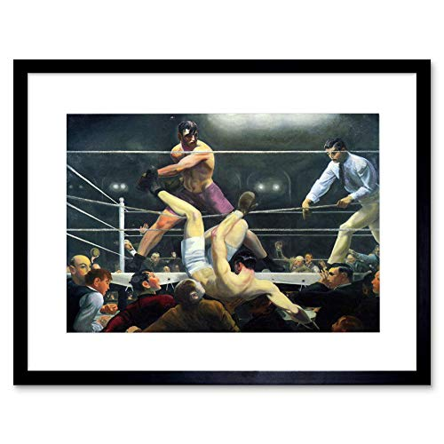 Painting Sport Scene Boxing Bellows Dempsey and FIRPO Framed Art Print B12X12726
