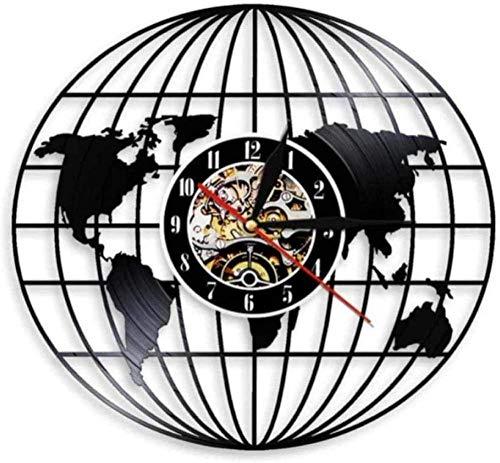 CCGGG Reloj de Pared de Vinilo World Earth Map Reloj CD3D Globe Earth Map Reloj de Pared Vinilo LP Reloj de Pared