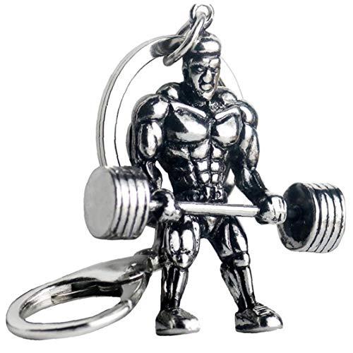 Starker Mann Hantel Keychain Männer Fitness Bodybuilding Schlüsselanhänger für Auto-Wallet Keys Ring Sports Männer Hip Hop Schmuck Gym Geschenke