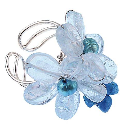 Steinring versilberter Ring blau hellblau Türkis Blumen Perlen verstellbar handgefertigt Dirndl Perlenring Steinringe Damenringe Fingerringe Damen Frauen Mädchen groß Ringe Doppel Blume Blumenring