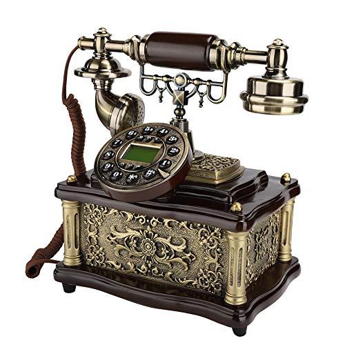 Goshyda Teléfono Fijo, Estilo Retro Europeo, Pantalla de identificación de Llamadas, teléfono Fijo, para Oficina en casa, Hotel, Estudio, Regalo, Sala de Estar, Dormitorio