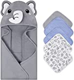 SYNPOS Newborn Hooded Towels Softest Towels, Thicker Hooded Bath Towel with 5 Washcloths - Ultra Absorbent and Non-Balling Cotton Baby Bath Towel for Babie, Toddler, Infant - Unisex Baby Beach Towels