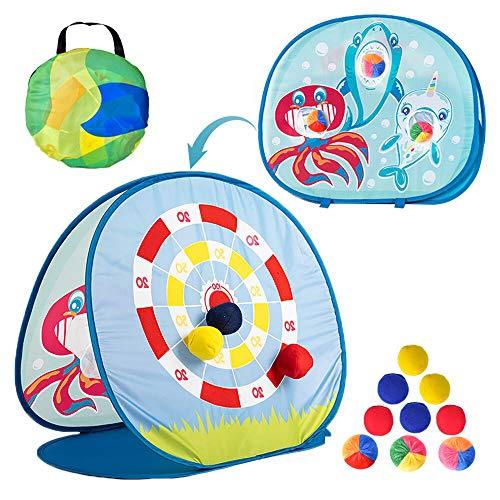 AINOLWAY Juguete de juego para niños pequeños de 3 a 4 5, diseño de tiburón, juego de mesa de cornhole de doble cara, con 6 pufs y 3 bolas de océano, juegos plegables al aire libre para niños