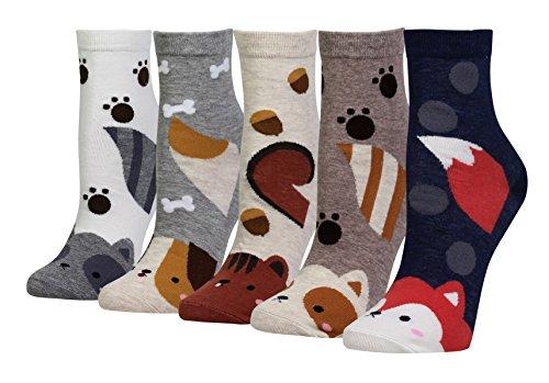 Cansok Damen-Socken mit Tiermotiv, Eichhörnchen/Waschbär, 5 Stück