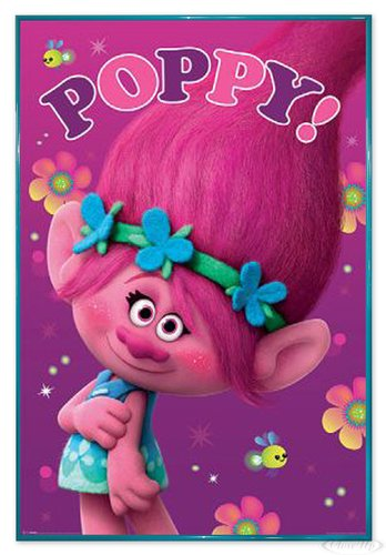 Close Up Trolls Poster Poppy! (94x63,5 cm) gerahmt in: Rahmen türkis