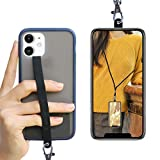 ROCONTRIP Silicone Phone Lanyard Elasticity Phone Strap 3 in 1 Phone Grip Finger Grip and Universal Crossbody Adjustable Lanyard Compatible with Most Smartphones (Black)