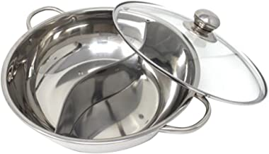 BESTONZON Multifunctional Stainless Steel Double Hot Pot Cookware Non-Stick Cooking Pots with Glass Lid