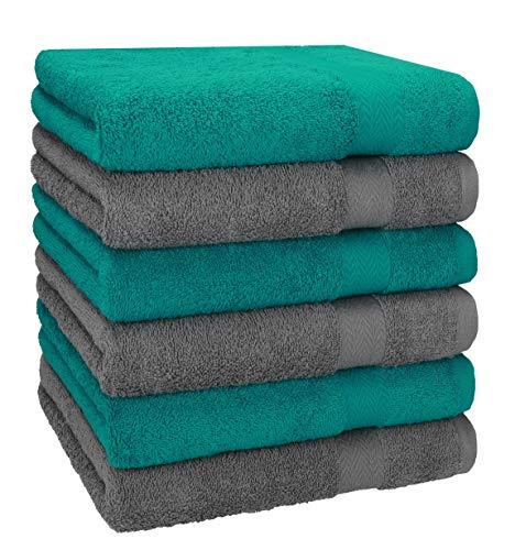 Betz 6 Pezzi di Asciugamani Premium 100% Cotone Dimensioni 50x100 cm Verde Smeraldo/Antracite