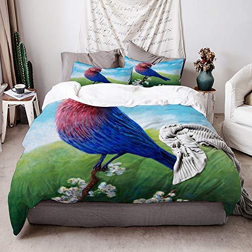 HATESAH 3-teiliger Bettbezug aus Mikrofaser,Vogel vögel Fink gemeiner Fink Landschaft Blumen Skyscape visionär spirituell,Das Bettwäscheset umfasst 2 Kissenbezüge,135 x 200cm