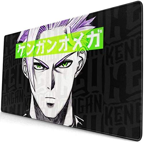 Gaming Mouse Mat Omega Kengan Ashura Manga Metal Comfortable Extended Large Mouse Pad Waterproof Keyboard Mat with Non-Slip Base Stitched Edges Smooth Surface 800X300X3 mm