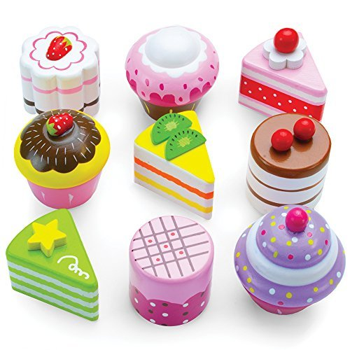Imagination Generation Cupcake and Mini Cake Petit Four Set (9pcs.) Wood Eats! Delectable Desserts Wooden Pretend Play Foods   Imaginative Play Kitchen Toy Accessories in Box