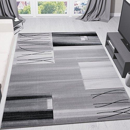 Woonkamer tapijt geruit gestreept in grijs dicht geweven onderhoudsvriendelijk getest op schadelijke stoffen geschikt voor vloerverwarming 160x230 cm