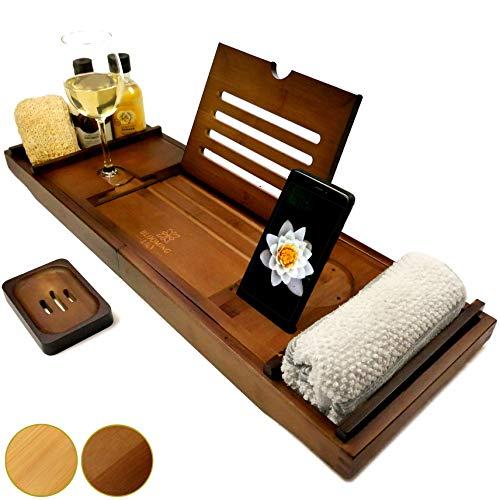 Blooming Lily - Bandeja de baño con Soporte para Copa de Vino, iPad, móvil y más (Marrón - Soporte Madera)