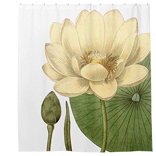 LAundNA 72 wei§es Lotus-Muster-Polyester-Gewebe-Badezimmer-Duschvorhang-kreative Hauptideen Hauptdekoration
