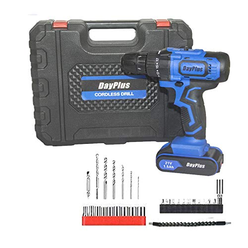 Battery Screwdriver Cordless Drill Driver Ideal Tool for Garage Workshop Home DIY 45Nm 2900rpm 18+1 Torque Setting with 1.5Ah Li-ion Battery 29pcs Accessories Handy Case Variable Speed