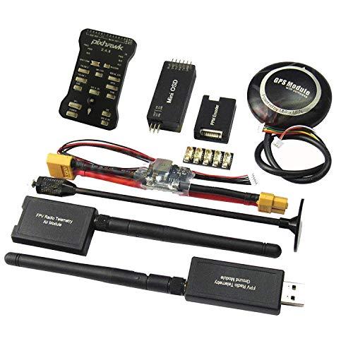 Hobbypower Pixhawk PX4 Flight Controller W/Shock Absorber +M8N GPS 915Mhz Radio Wireless Telemetry Set OSD Module PPM Module I2C Splitter Expand Module Power Module for FPV Quadcopter Multirotor