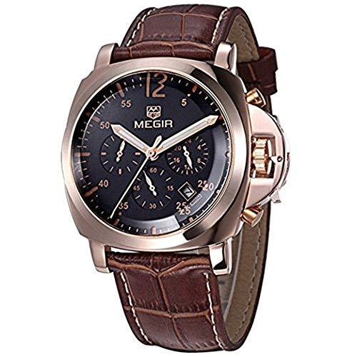 Megir, orologio da uomo, con cronografo, sportivo, con cinturino in vero cuoio, molto elegante