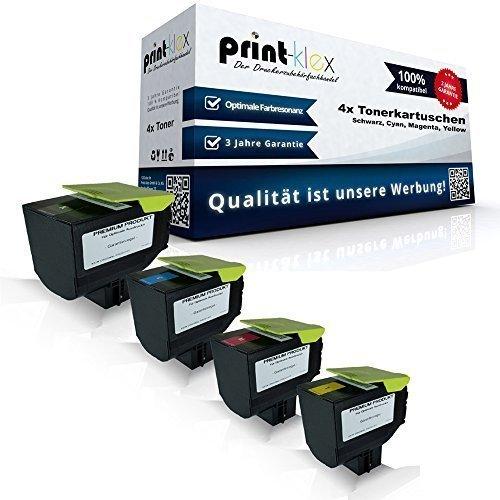 4x kompatible Tonerkartuschen für Lexmark CX410 de CX410 dte CX410 e CX510 de CX510 dhe CX510 dthe 802HK 802HC 802HM 802HY Black Cyan Magenta Yellow Sparset KCMY