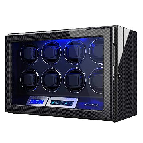 Uhrenbeweger für 8 Automatikuhren, LCD-Touchscreen-Display mit Verstellbaren Uhrenkissen, Eingebaute Beleuchtung Antrieb Durch Extrem Leisen Motor (Carbon Fiber)