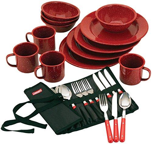 Coleman 24-Piece Enamel Dinnerware Set, Red (Renewed)