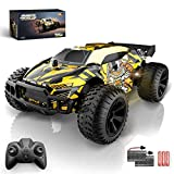 VRG RC Cars for Boys Age 8-12, 2.4GHz LED Light Remote Control Car, High Speed Racing RC Car with 2 Rechargeable Batteries for 100 Min Play, Toy Cars for Boys Girls, Xmas Gifts(Yellow)