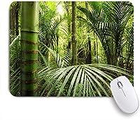 NIESIKKLAマウスパッド 緑の竹、熱帯群葉、ヤシの葉 ゲーミング オフィス最適 高級感 おしゃれ 防水 耐久性が良い 滑り止めゴム底 ゲーミングなど適用 用ノートブックコンピュータマウスマット