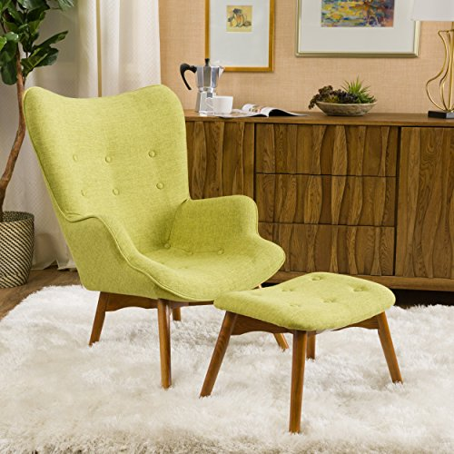 Christopher Knight Home Acantha Mid Century Modern Retro Contour Chair with Footstool, Muted Green