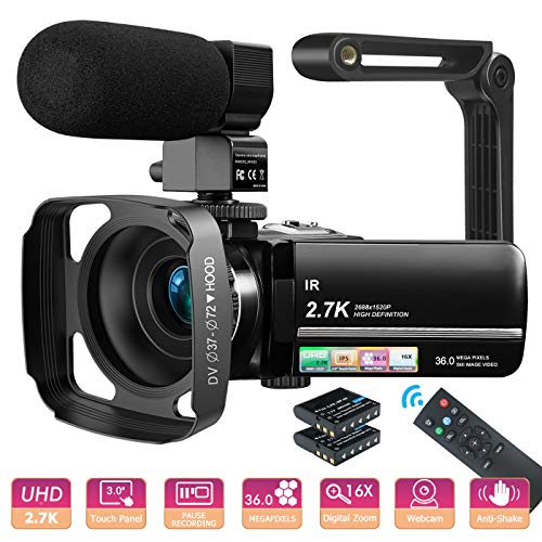 MELCAM Videocámara UHD 2.7K Camcorder 36MP Vlogging Youtube Cámara IR Visión Nocturna 3.0