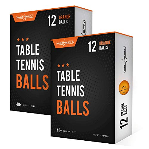 PRO SPIN Ping Pong Balls - Orange 3-Star 40+ Table Tennis Balls (12) | High-Performance ABS Training Balls | Ultimate Durability for Indoor / Outdoor Ping Pong Tables, Competitions,Games (2-Pack)