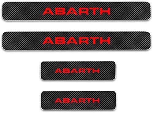 HAOHAO Anti-Kratz-Platte für Autoschwelle für Passend für 4 Stück Externes Carbon-Faser-Leder-Auto Kick-Platten Pedal for FIAT 500 Abarth, Einstieg Willkommen Pedal-Tritt Scuff Threshold Bar Pro.