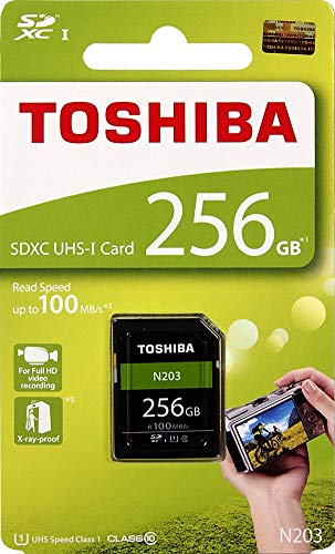 Toshiba N203 SDXC UHS-I Card High Speed 256GB SD Card Flash Memory Card Up to 100MB/Sec