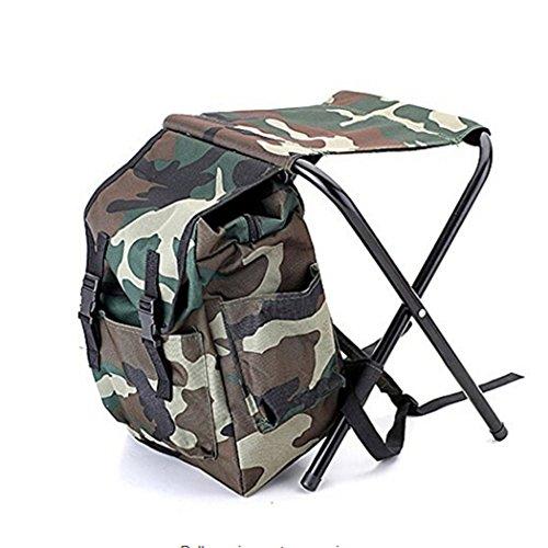 HOHAI Camouflage Zaino Borsa Termica Oxford Sedia ad Alta intensità Acciaio Croce per Pesca Sgabello Campeggio Esterno Portatile Pieghevole Zaino