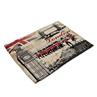 2/4/6piecese Europe Retro Home Decorative France London New York Table Place Mats Pattern Placemats For Kitchen Table Coaster : NO 4, 4 Pieces