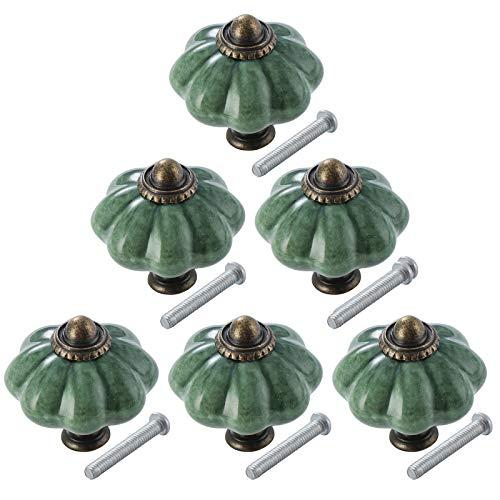 TsunNee 6 pomelli in ceramica per armadietti, pomelli per cassetti, stile antico, zucca da cucina, pomelli rotondi per porte mobili, colore: verde