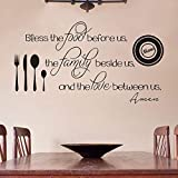 FlyWallD Kitchen Wall Decal Christian Quote Sticker Religion Saying Restaurant Vinyl Art Mural Decor Bless The Food Before Us