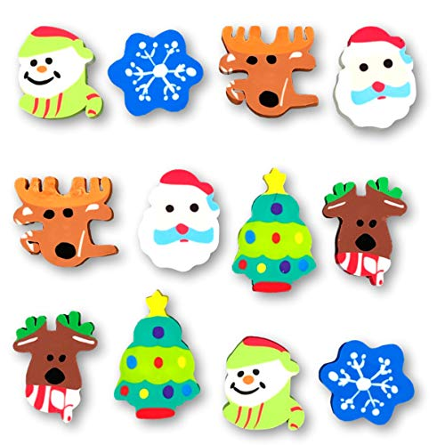 Assorted Christmas Erasers Party Favor - Snowman Snowflake Reindeer Santa Claus - Classroom School Supply - 12 Pieces