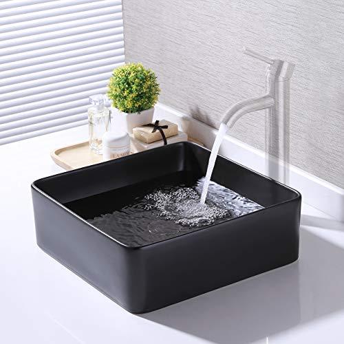 KES Bathroom Vessel Sink 14 Inch Above Counter Square Matte Black Ceramic Countertop Sink for Cabinet Lavatory Vanity, BVS122-BK