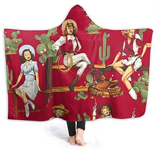 Lucky Home Sexy American Rustic West Kulturelle Cowgirl Kapuzendecke Weiches Flanell Sherpa Herren Damen Tragbare Neuheit Plüsch Fleece Überwurfdecken Poncho 80 'x60'