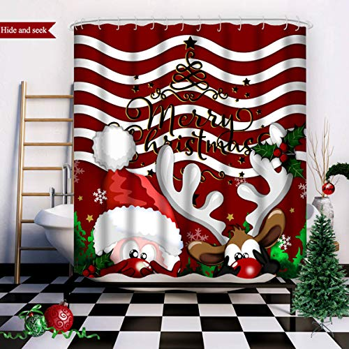 Wasserrhythm Merry Christmas Shower Curtain Red...